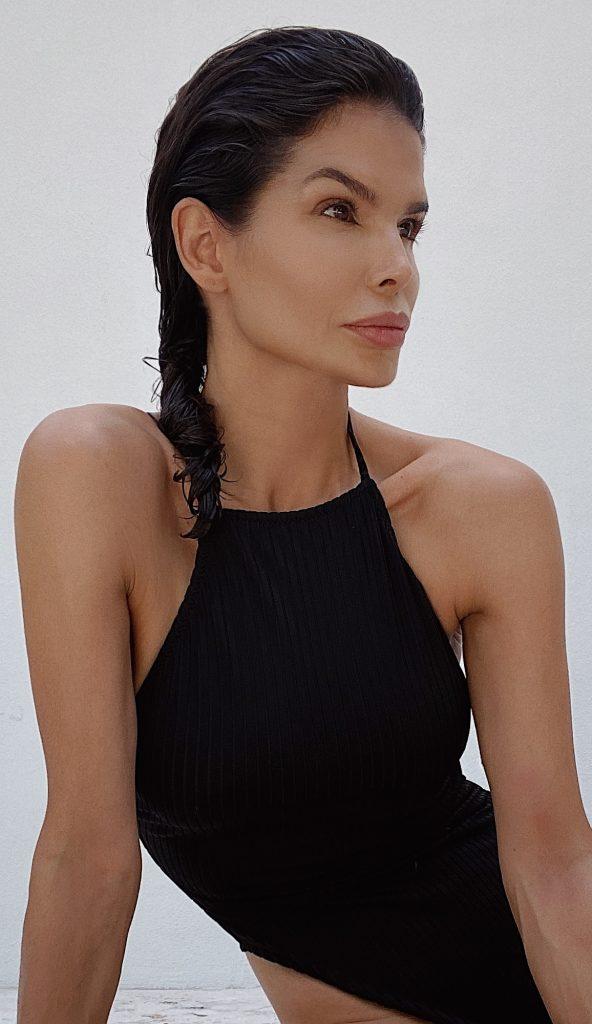 Fashion Influencer Victoria Barbara in Black Swimsuit