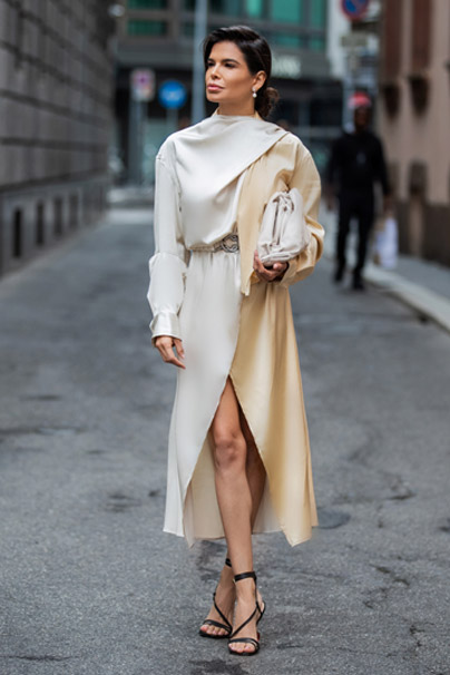 Victoria Barbara in Bottega Veneta Satin Dress with Pouch in Butter Calf