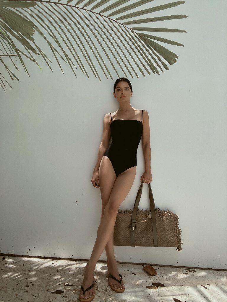Victoria Barbara in Black One Piece Swimsuit