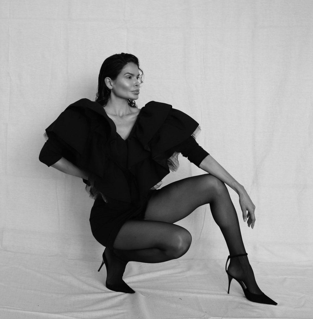 Fashion Influencer Victoria Barbara in Black Dress