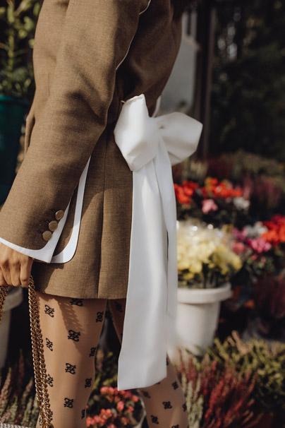 Victoria Barbara's MFW Street Style Fendi White Poplin Bowtie Blouse
