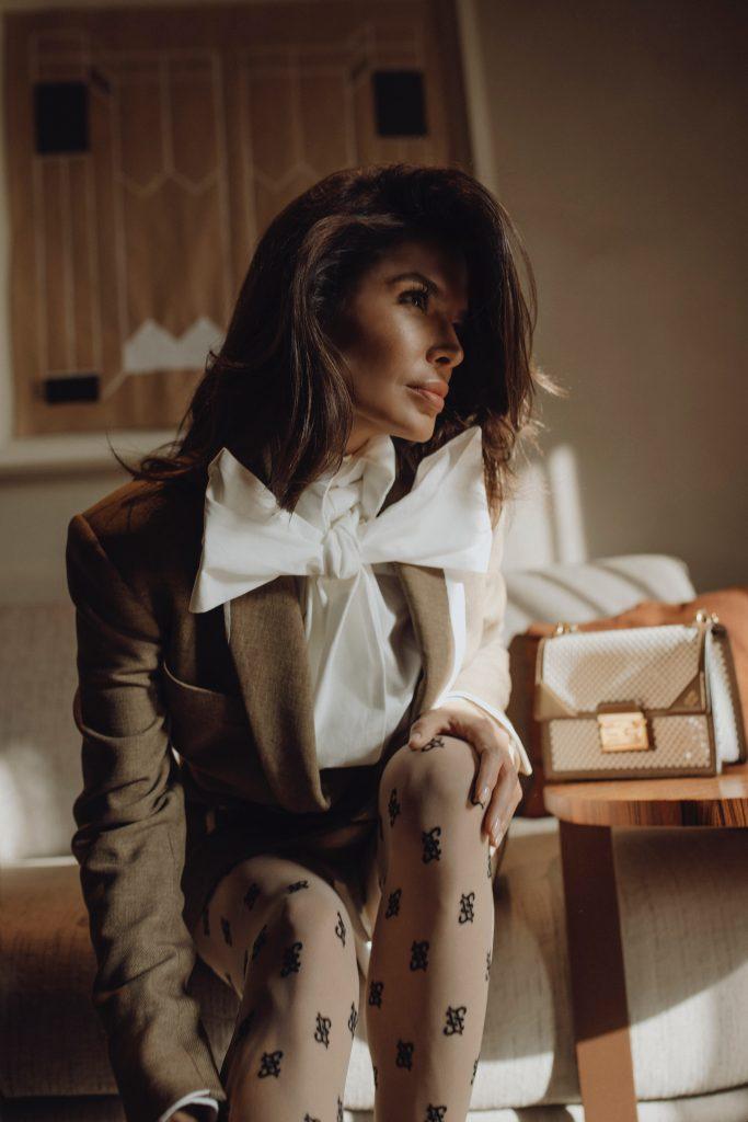 Victoria Barbara's MFW Look in Fendi White Leather Trimmed Blazer