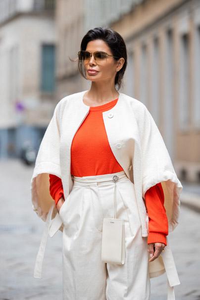 Victoria Barbara Street Style in Jil Sander Jacket