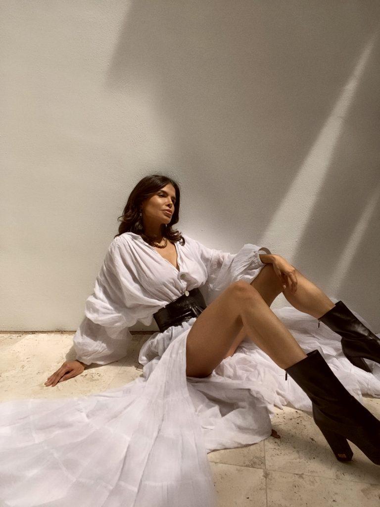 Fashion Blogger Victoria Barbara wearing Erika Pena White Dress