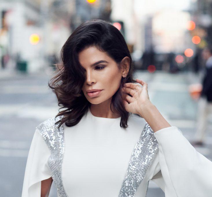 Victoria Barbara in White Louis Vuitton Evening Dress