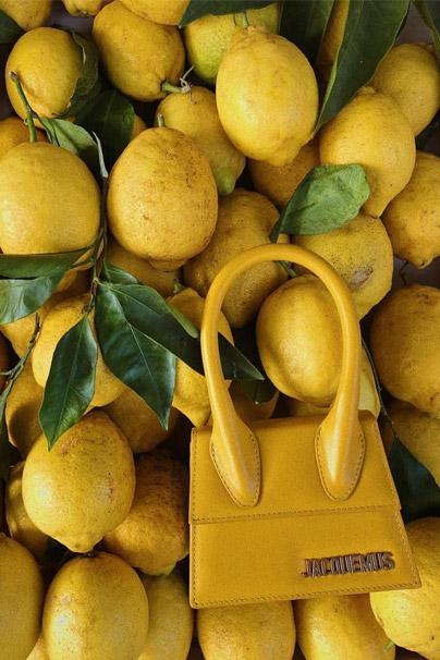Yellow Jacquemus Le Chiquito Leather Mini Bag against Lemon Backdrop