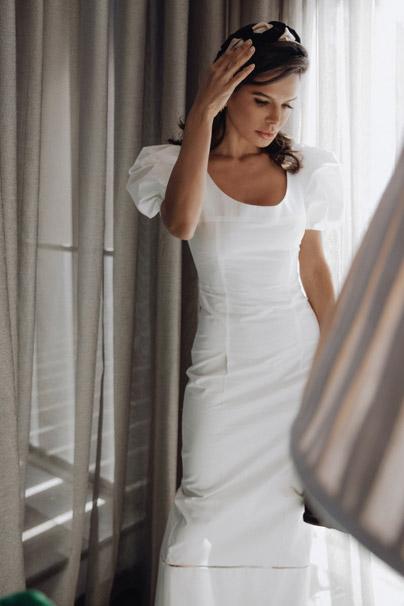 Victoria Barbara in Khaite White Dress