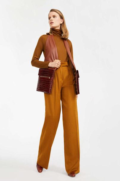 Max Mara Straight-Leg Camel Trousers in Yellow