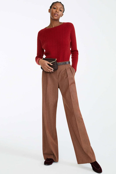 Max Mara Wool Trousers in Tobacco